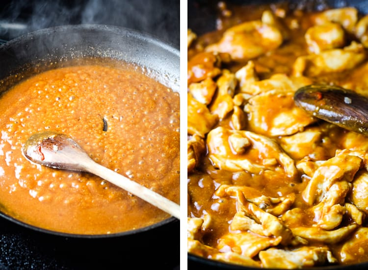 Peanut sauce cooking in a skillet, and next to it with chicken pieces added to the pan
