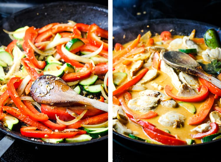 Zucchini and red bell pepper sauteeing in a skillet, and with coconut milk and red curry paste added to skillet.