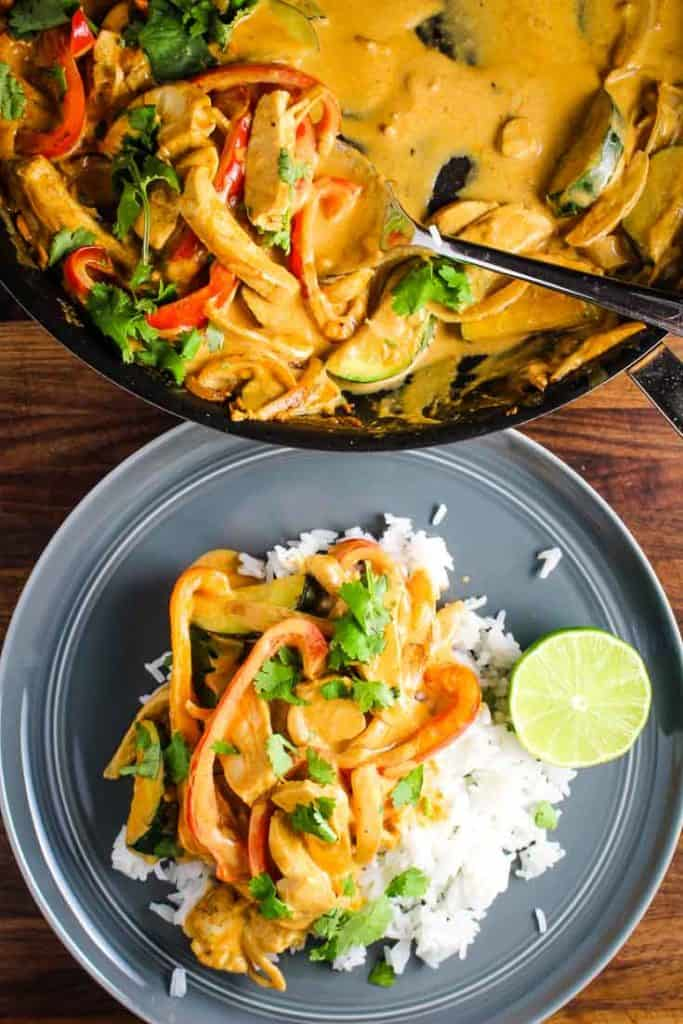 A plate of Thai red curry served over rice