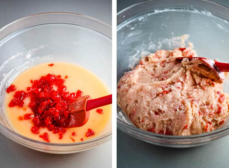 Chopped maraschino cherries being combined with cookie dough