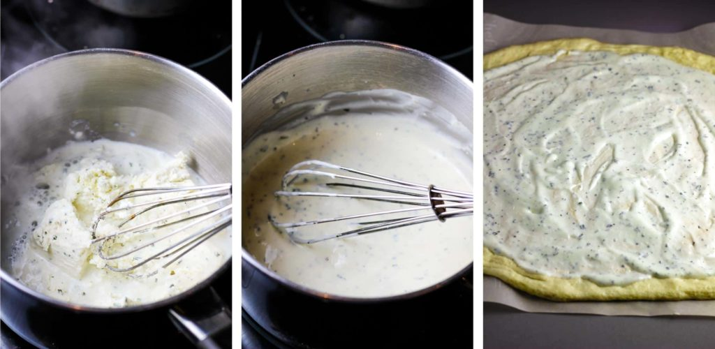 Boursin cheese and milk being whisked together in a saucepan and spread on pizza dough