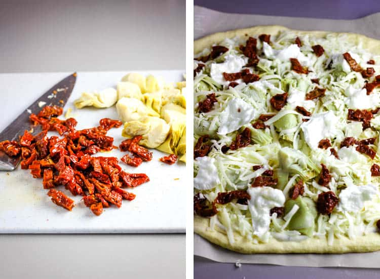 chopped sun dried tomatoes and artichokes on a cutting board and sprinkled on a pizza crust with mozzarella