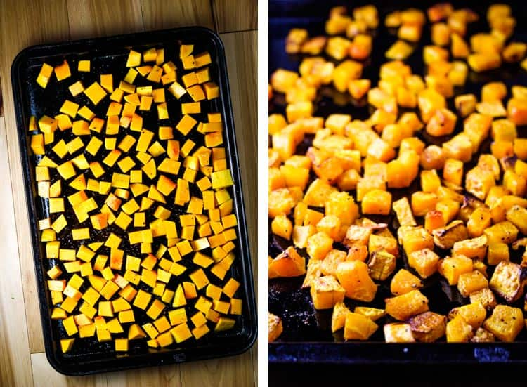 Cubed butternut squash on a baking sheet, before and after roasting