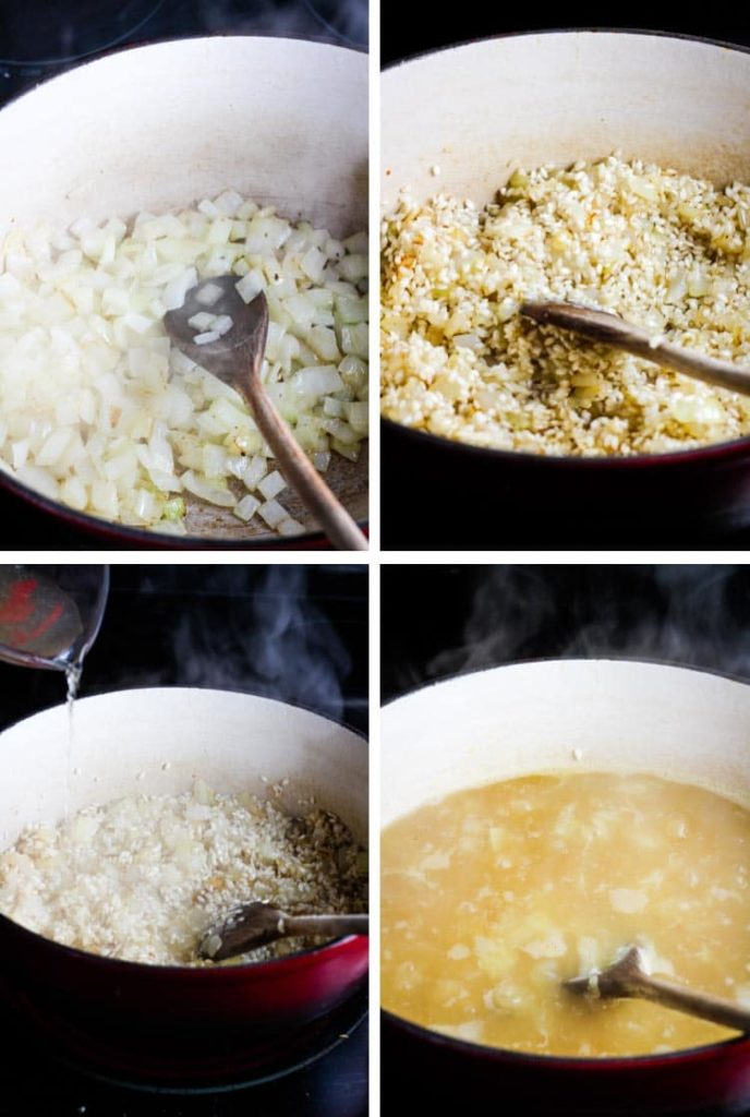 4 image collage: onion cooking in a dutch oven, with rice being stirred in, with broth being added, simmering on the stove