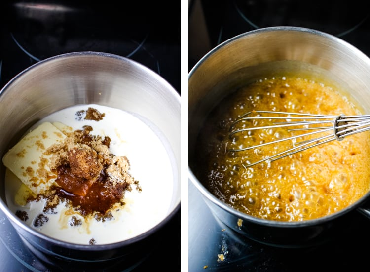 Ingredients for toffee sauce in a saucepan, and combined and simmering