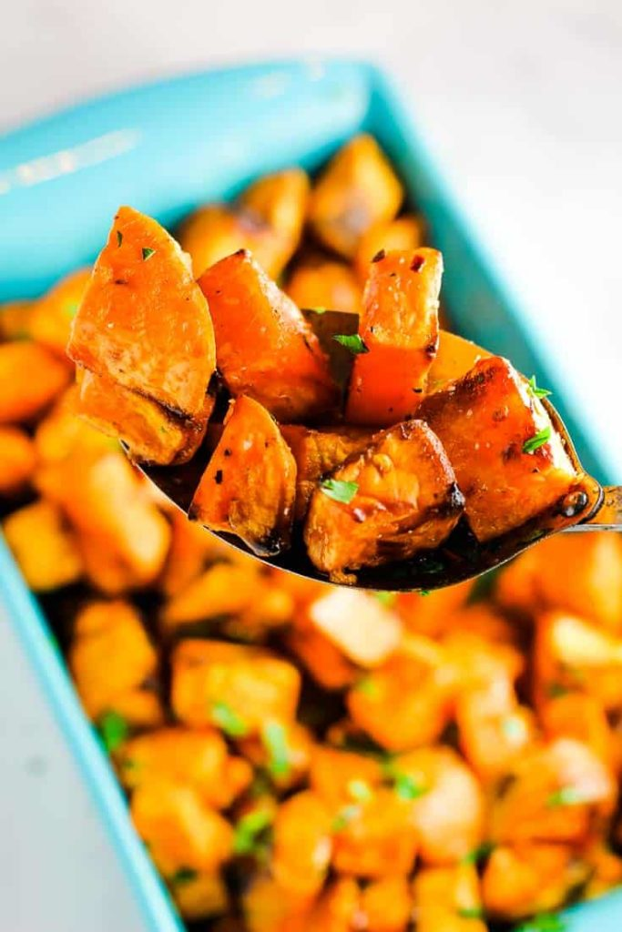 Roasted sweet potatoes in a serving dish