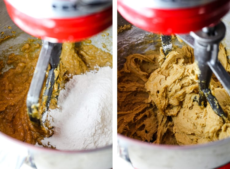 Four mixture added to a stand mixer with cookie dough, and combined into dough