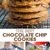 chocolate chip cookies in a stack and steps for making them