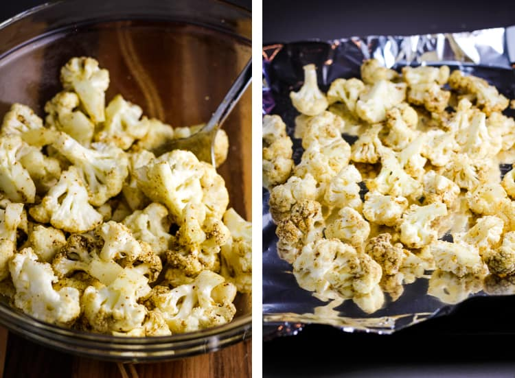 One image of cauliflower florets in a bowl being tossed with a spice mixture, another image of the cauliflower spread on a foil-lined baking sheet
