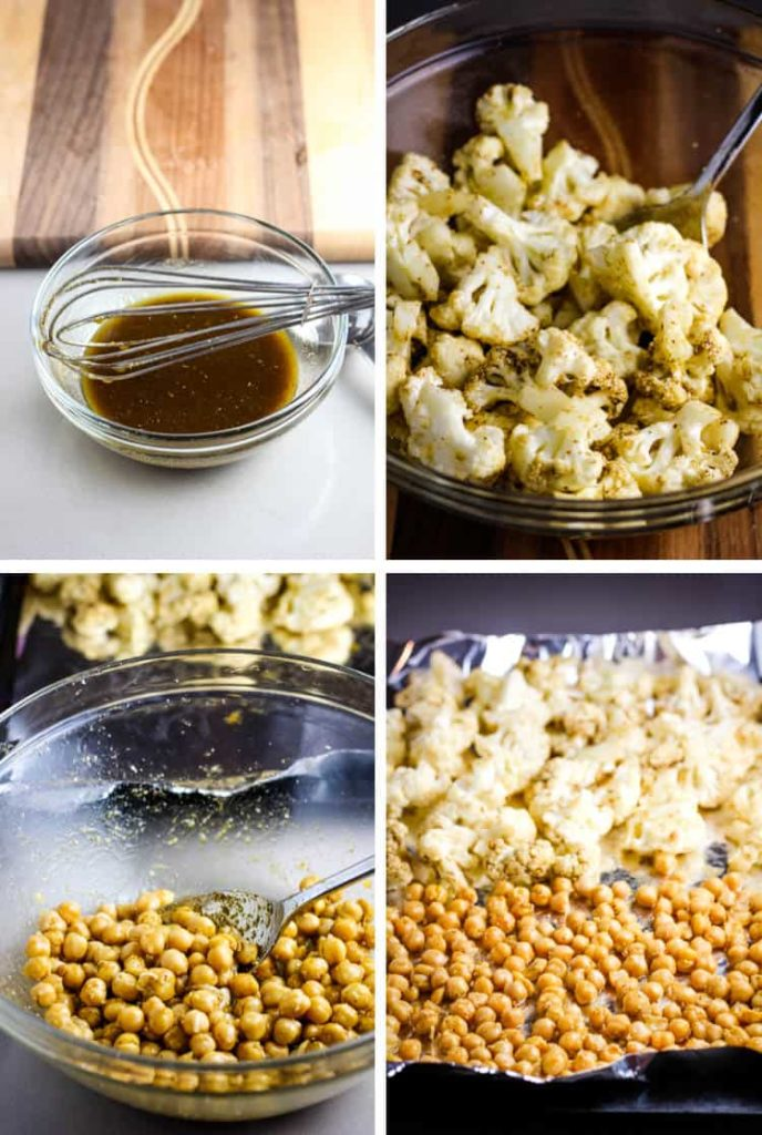 Spices and olive oil combined in a bowl and tossed with cauliflower florets and chickpeas. Cauliflower and chickpeas spread on a baking sheet.
