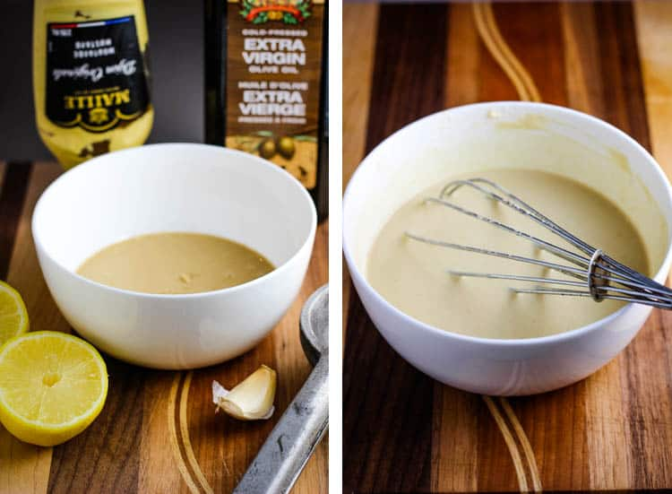 Tahini in a bowl with garlic, lemon, mustard and olive oil around it, and tahini dressing in a bowl