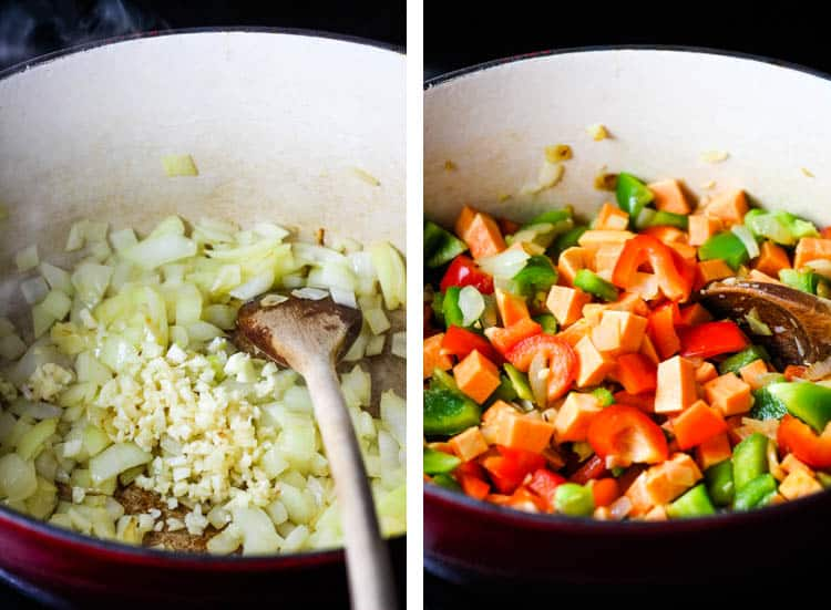 Collage of 1) onions and garlic cooking in a dutch oven and 2) sweet potatoes, peppers and other vegetables in a dutch oven