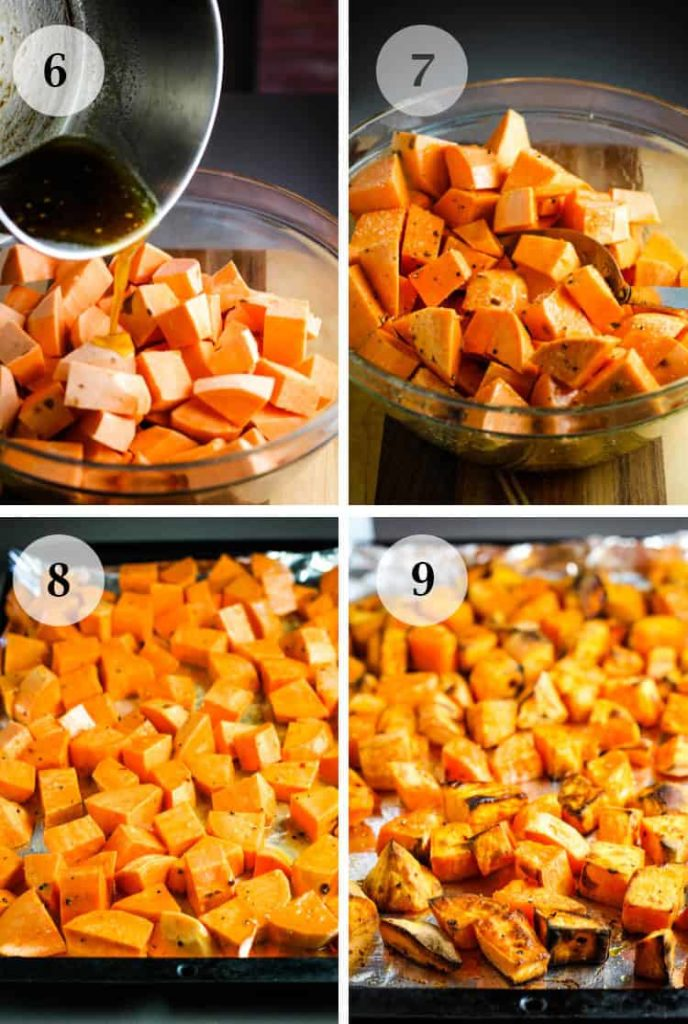 steps for glazing and roasting sweet potatoes