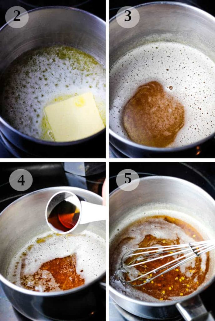 steps to make a brown butter and maple syrup glaze