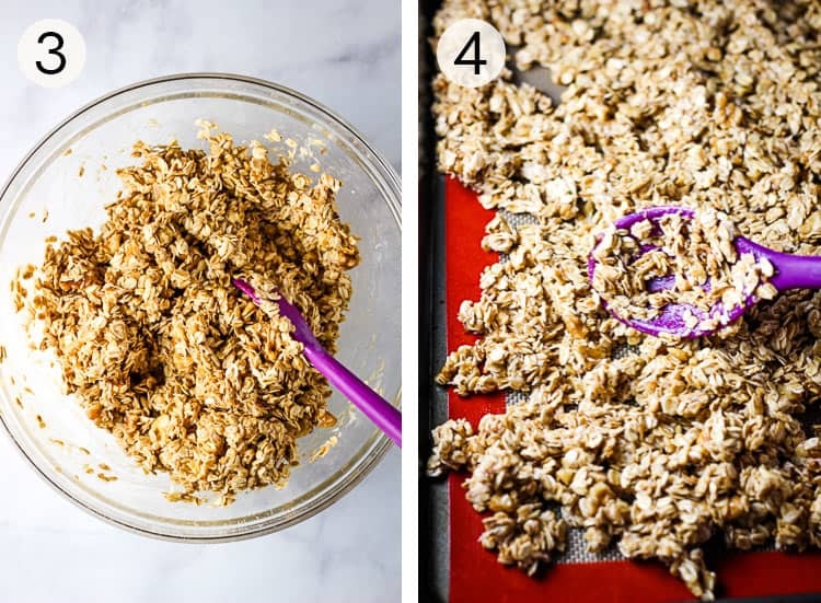 Homemade granola uncooked in a mixing bowl and being spread onto a baking sheet.