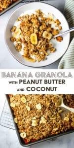 A bowl of banana granola over vanilla yogurt