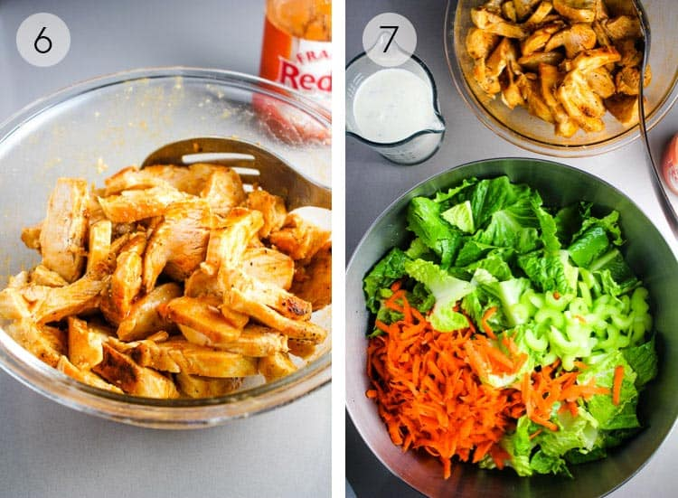Steps for making a buffalo chicken salad