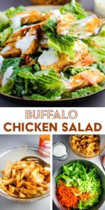 A bowl of buffalo chicken salad with steps for making it