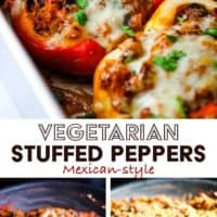 Vegetarian stuffed peppers in a baking dish and steps for making them with text overlay