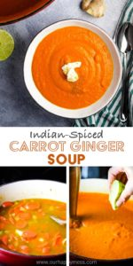 A bowl of carrot ginger soup with steps for making it