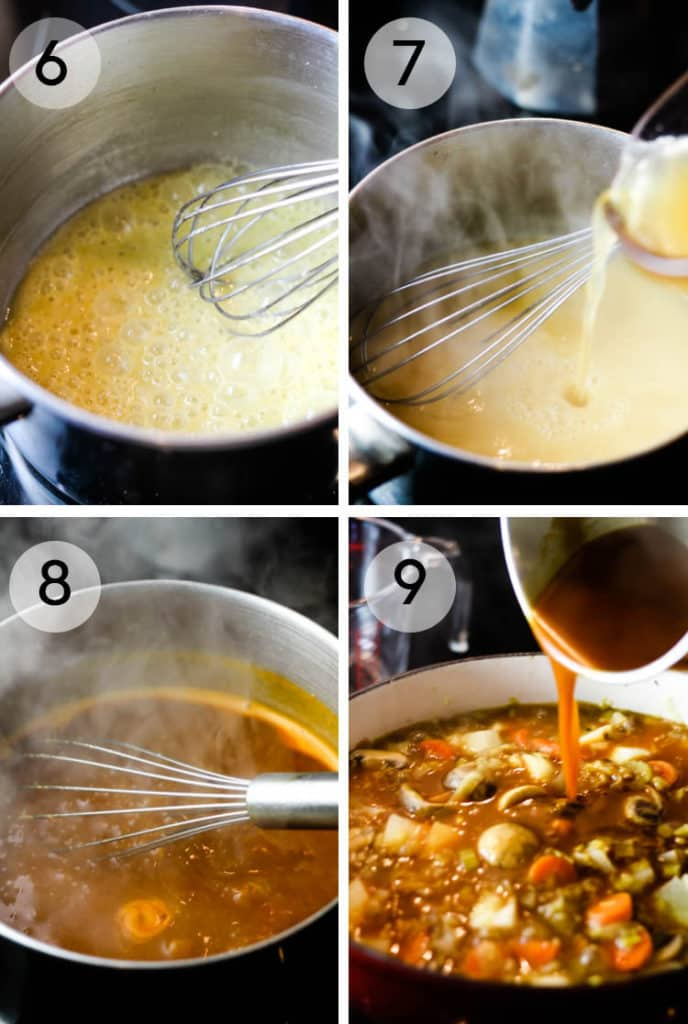 Steps for making a roux for stew