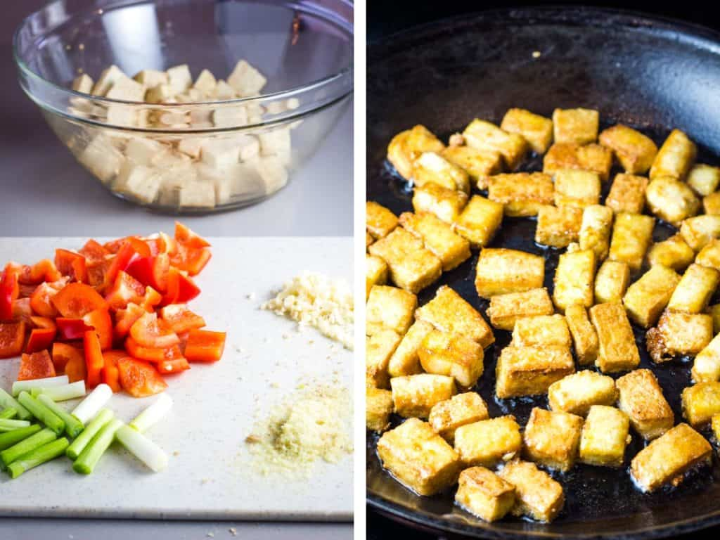 Vegetables chopped on a cutting board and tofu frying in a pan