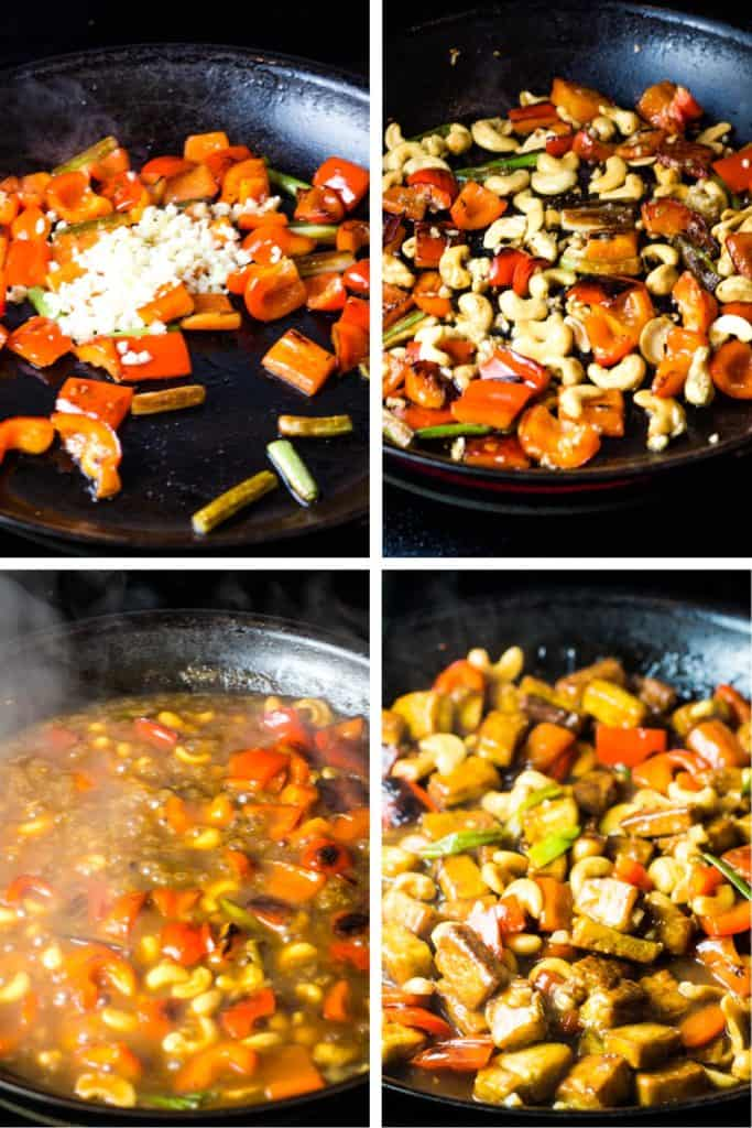 Steps for cooking the vegetables and sauce