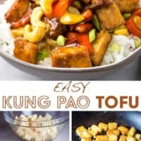 A bowl of tofu stir fry over white rice and steps for making it