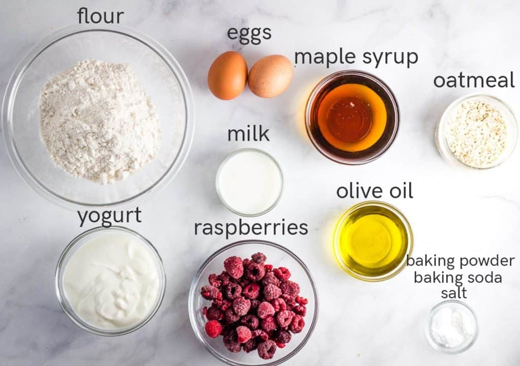 ingredients to make raspberry muffins