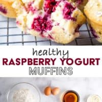 Muffins on a cooling rack and the ingredients to make them