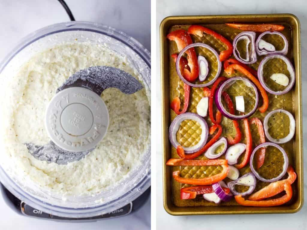 A food processor with whipped feta and a pan of vegetables to be roasted