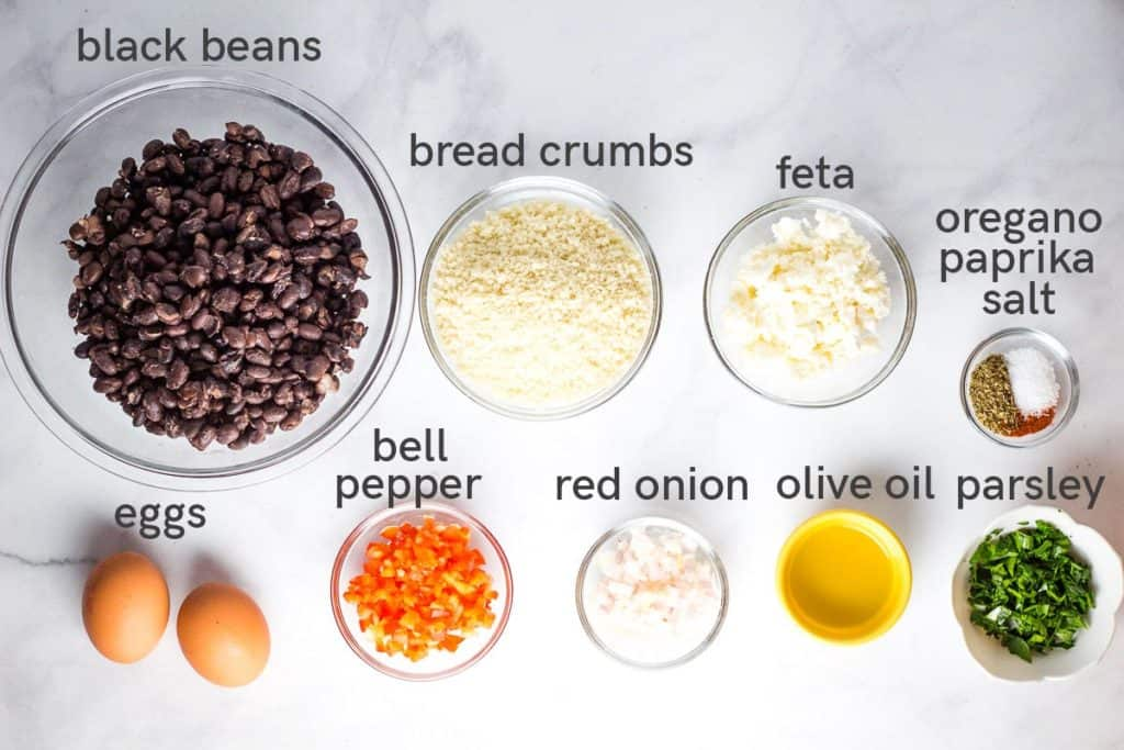 Labeled Ingredients for making black bean burgers