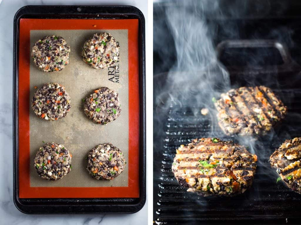 Black bean burger patties on a baking sheet, and being cooked on a grill pan