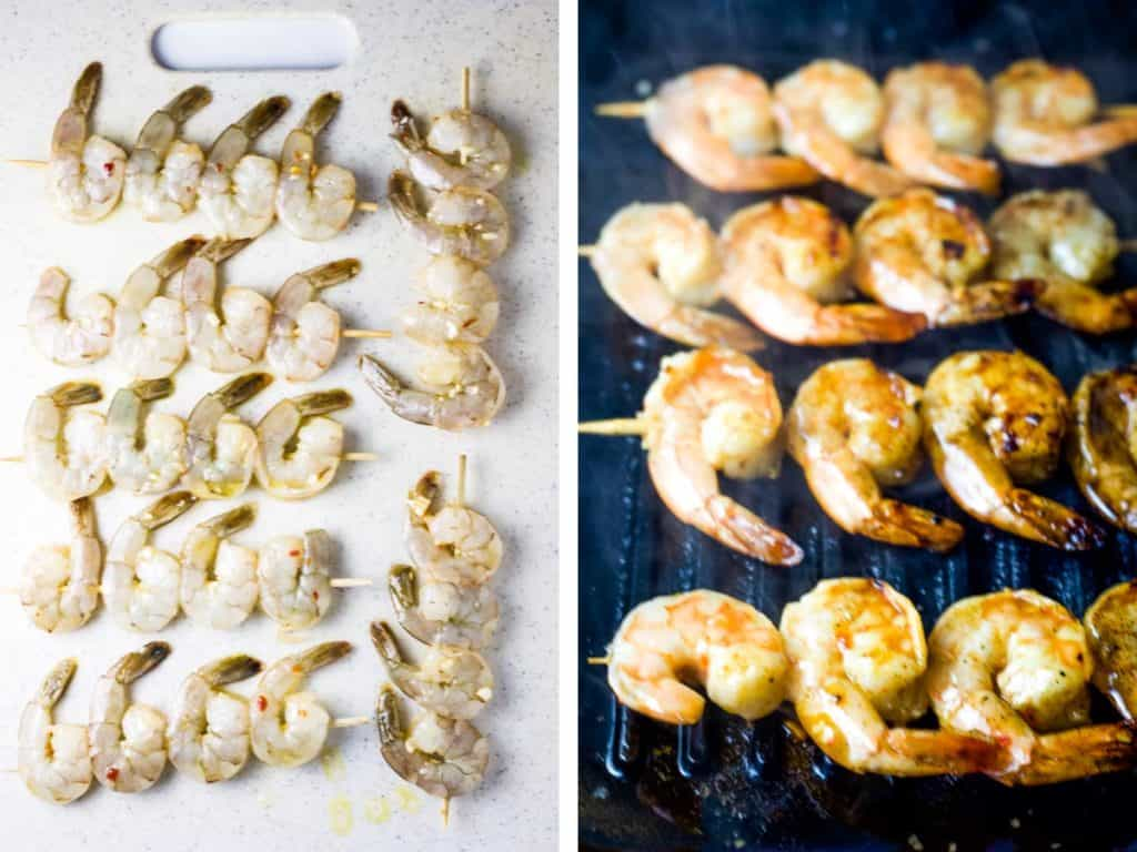 Raw shrimp threaded onto skewers next to shrimp skewers on a grill pan
