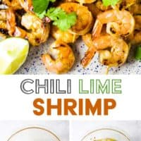 Shrimp on skewers piled onto a plate with a garnish of cilantro with steps for making them and text overlay