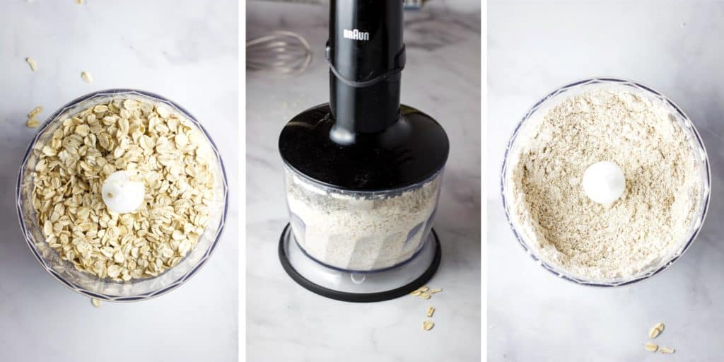 Steps for making oat flour in a food processor