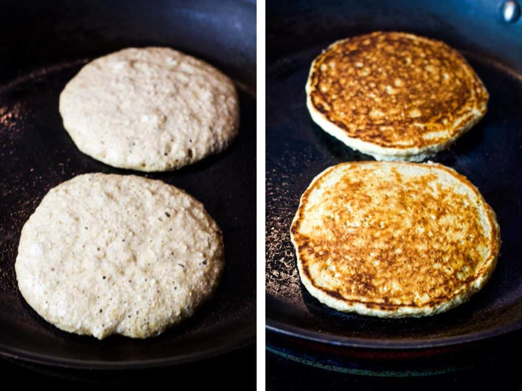 pancakes cooking in a frying pan before and after flipping