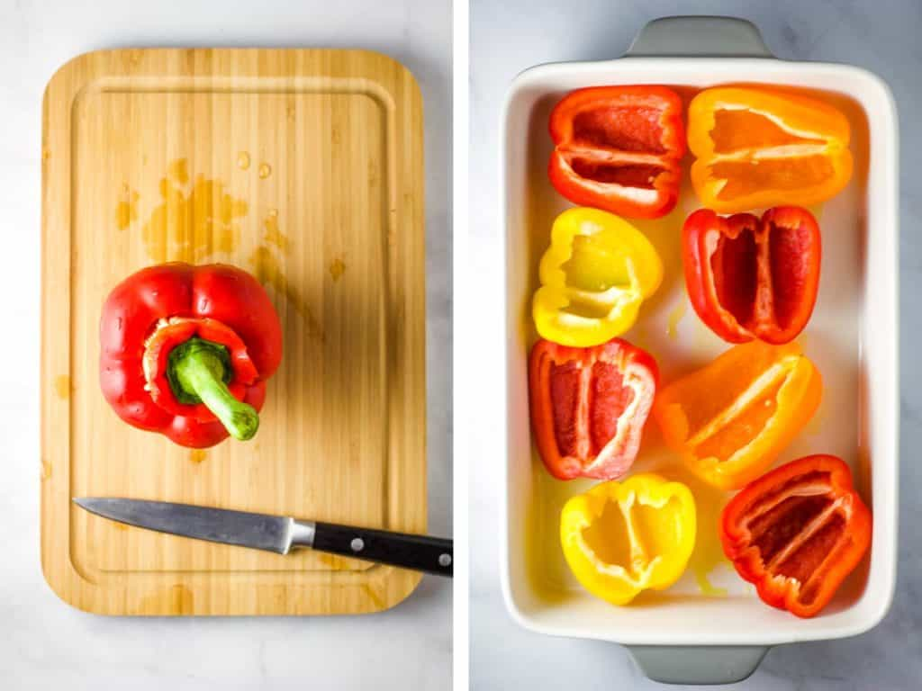 A red bell pepper on a cutting board with the stem cutout, and a bunch of cored bell pepper halves in a baking dish