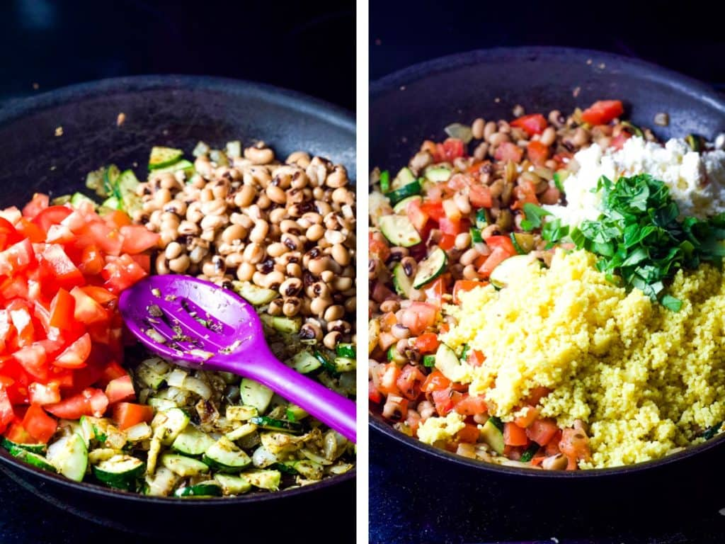 Vegetables and couscous being cooked in a pan