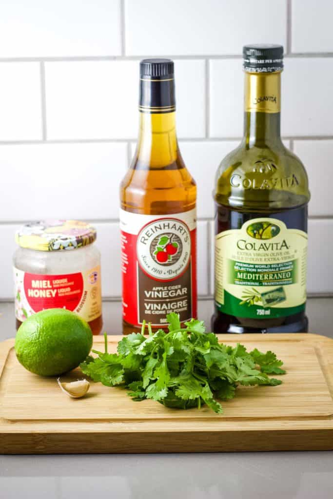 Ingredients for making cilantro lime vinaigrette