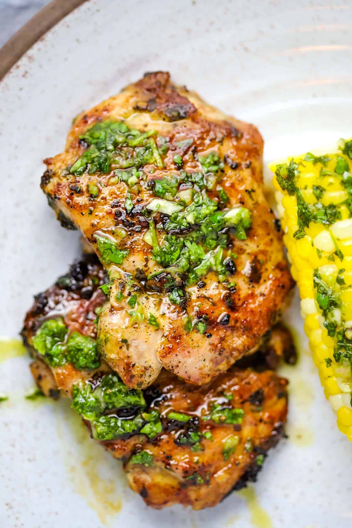 chicken thighs topped with chimichurri
