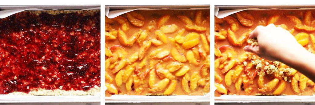 Raspberry preserves and peaches being layered into pan for crumb bars