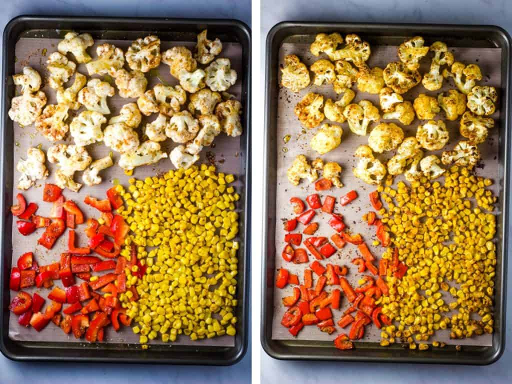 Before and after of vegetables roasted on a baking sheet