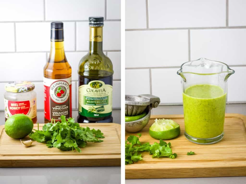 Salad dressing ingredients lined up on a cutting board, and blended together in a beaker