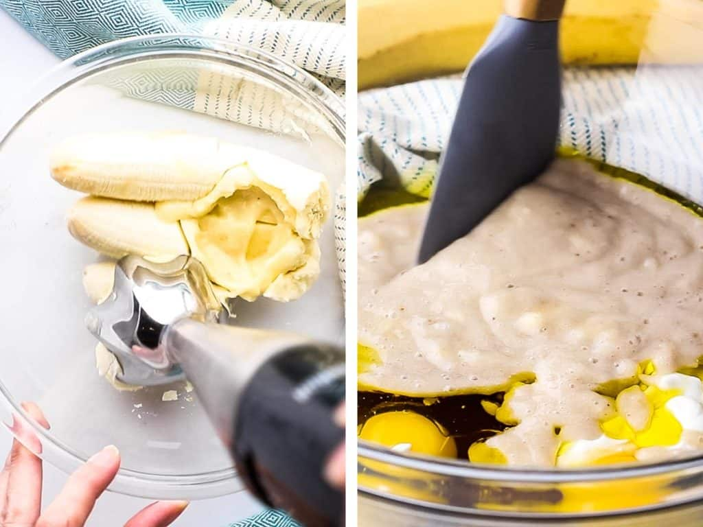 Collage of bananas being mashed in a bowl with an immersion blender, and then combine with other ingredients.
