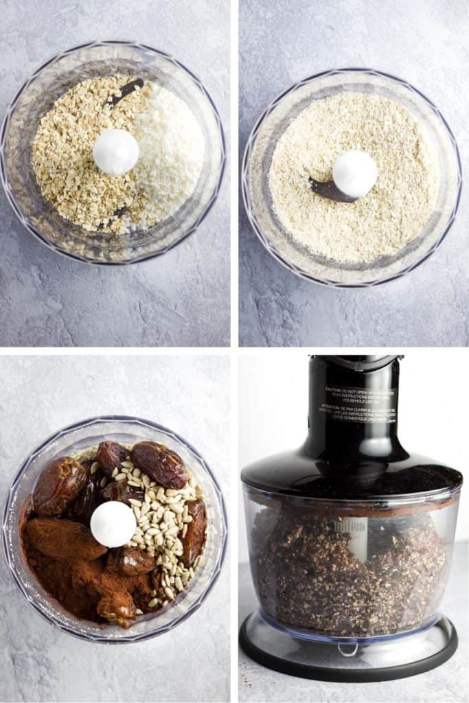 Steps for making date energy balls in a food processor