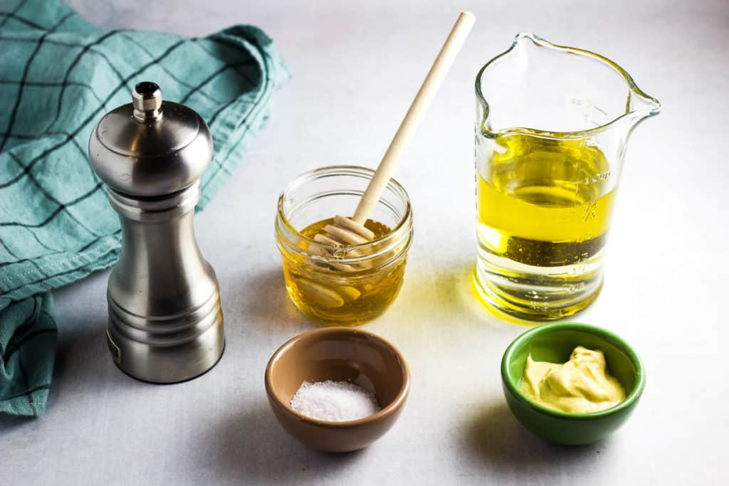 Ingredients for a white wine vinaigrette