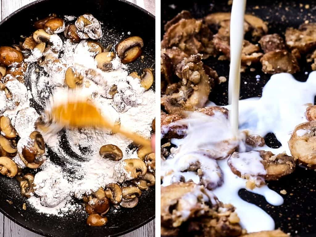 Stirring flour and milk into sauteed mushrooms for sauce.