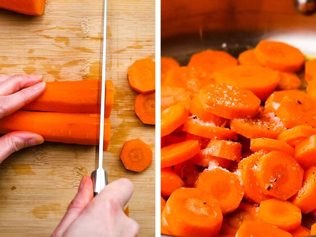 Cutting carrots into coins and adding them to a pan.