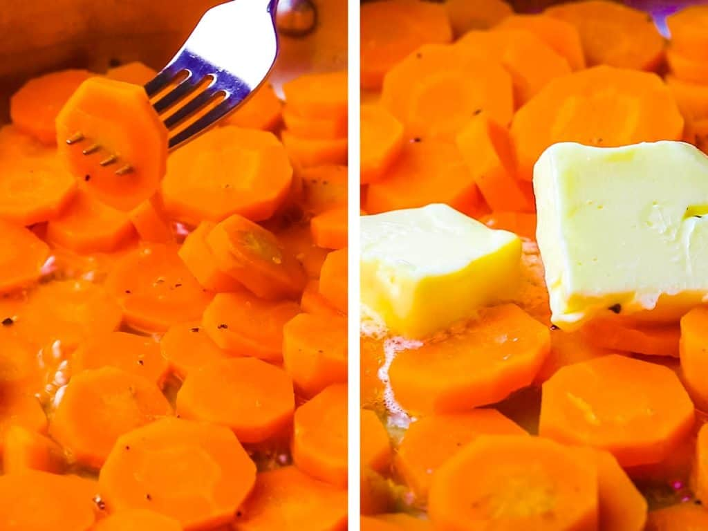 Carrot coins in a pan being pierced with a fork and with knobs of butter added.